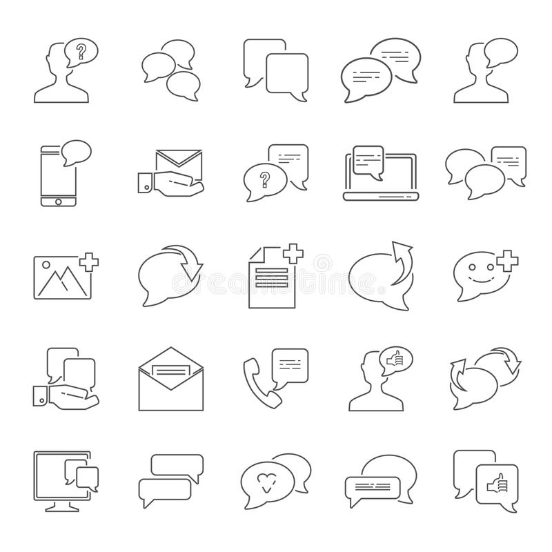La línea iconos universales de la relación del mensaje fijó para el web y el diseño móvil ilustración del vector