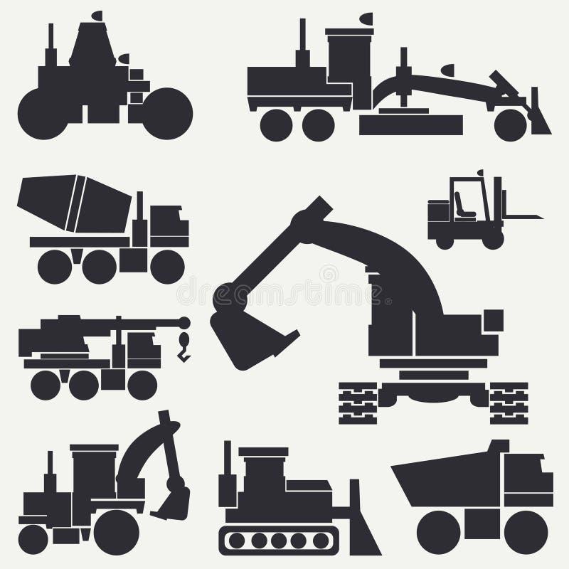La línea maquinaria de construcción plana del icono del vector fijó con la niveladora, grúa, camión, excavador, carretilla elevad ilustración del vector