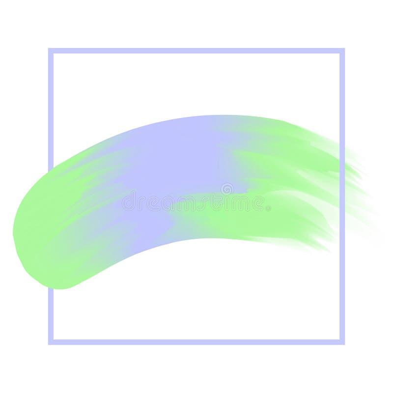 La línea marco y cepillo pintó suave en colores pastel del fondo púrpura y verde de la acuarela, movimiento de acrílico púrpura d libre illustration