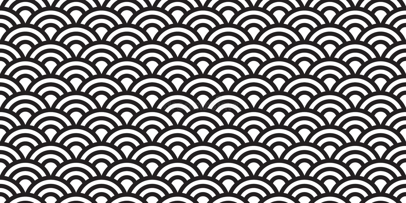 La línea modelo inconsútil de la ola oceánica de Japón aisló el fondo del papel pintado del vector ilustración del vector