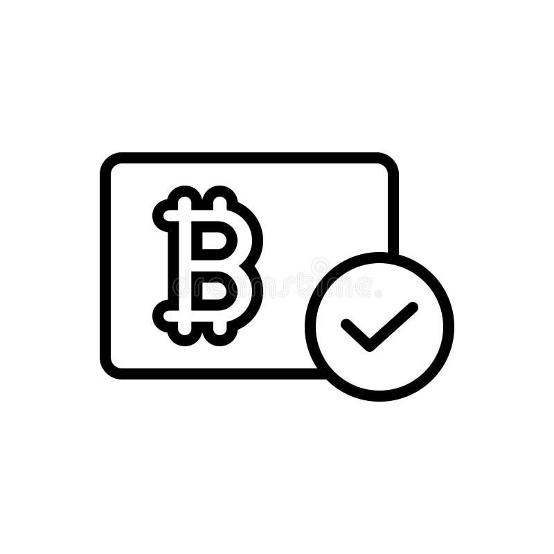 La línea negra icono para Bitcoin aceptó, digital y moneda libre illustration
