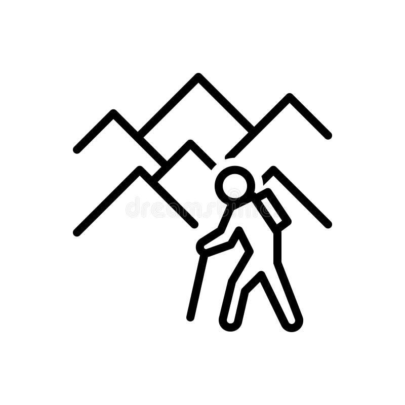 La línea negra icono para Explore, desentierra y encuentra libre illustration