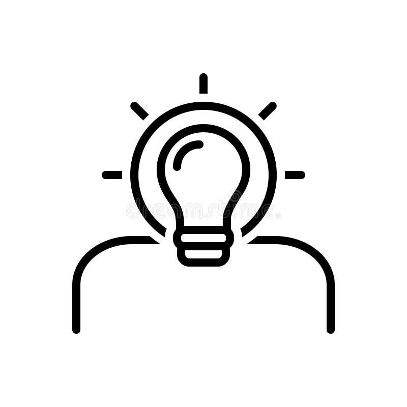 La línea negra icono para la idea, encuentra una solución y creativo stock de ilustración