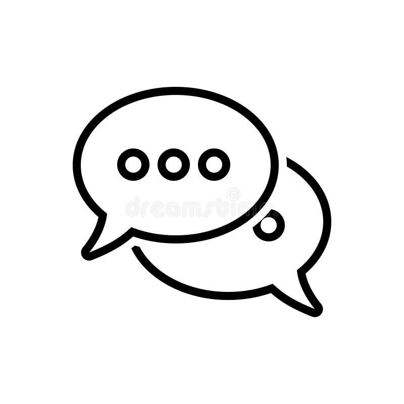 La línea negra icono para las burbujas del discurso, habla y habla libre illustration