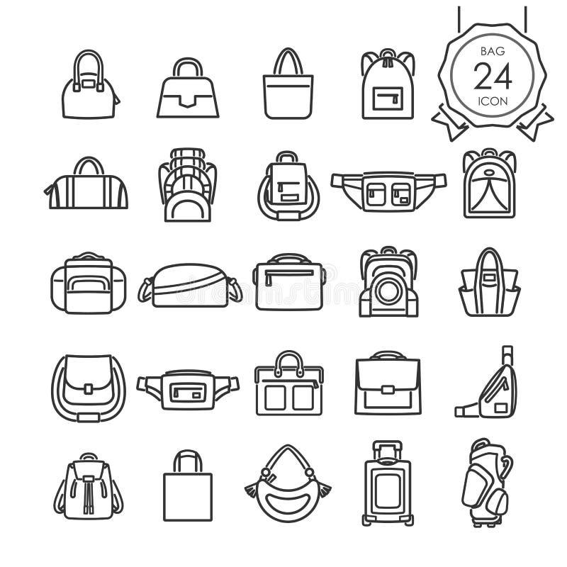 La línea negra iconos fijó de los bolsos para el sitio web aislados en el fondo blanco stock de ilustración