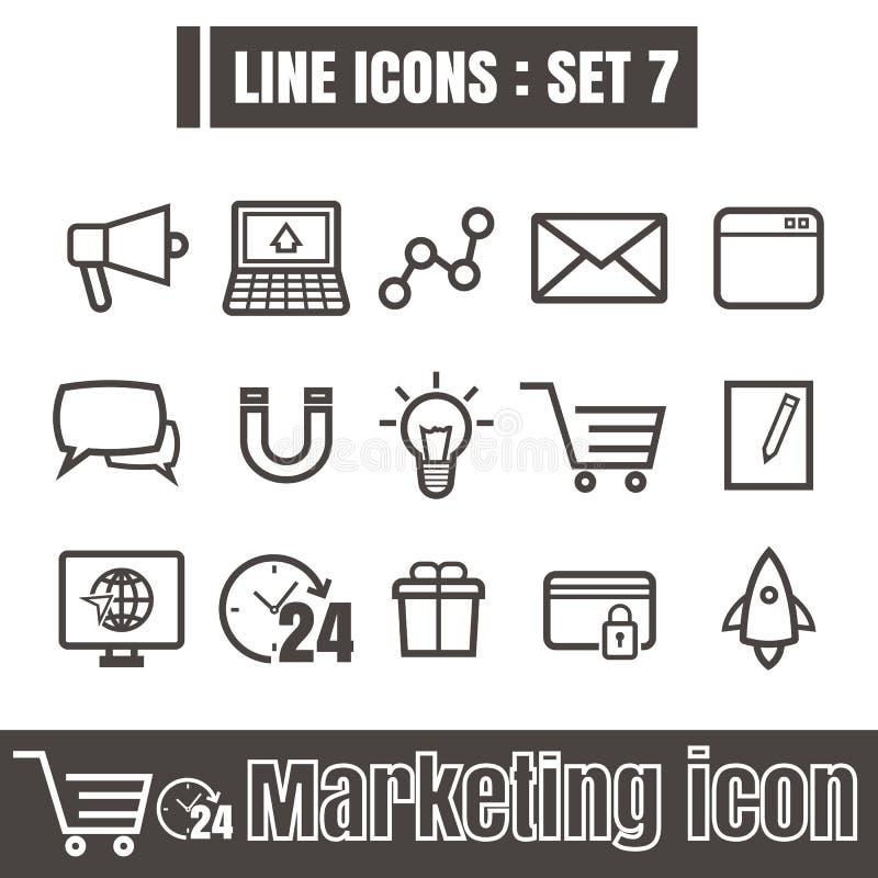 La línea negro de los iconos fijó 7 Ejemplo EPS 10 en el fondo blanco libre illustration