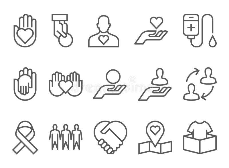 La línea plana de los iconos de la caridad y de la donación diseña vector stock de ilustración