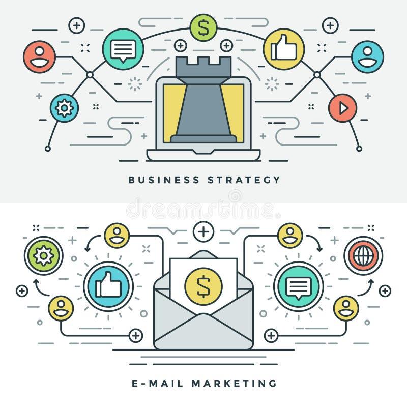 La línea plana email y el concepto de la estrategia empresarial Vector el ejemplo Iconos lineares finos modernos del vector del m ilustración del vector