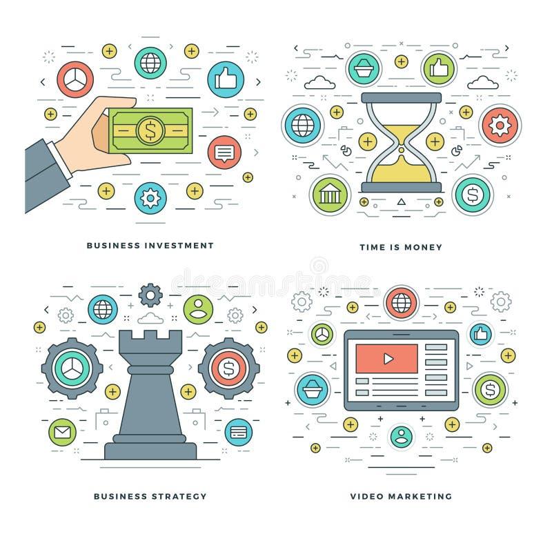 La línea plana estrategia, inversión, conceptos del negocio de la gestión de tiempo fijó ejemplos del vector stock de ilustración