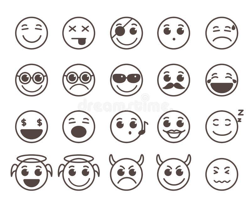 La línea plana iconos de las caras de los smiley del vector fijó con expresiones faciales divertidas ilustración del vector