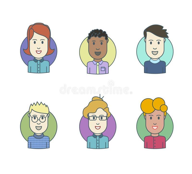 La línea plana iconos fijó de avatares elegantes de la gente ilustración del vector