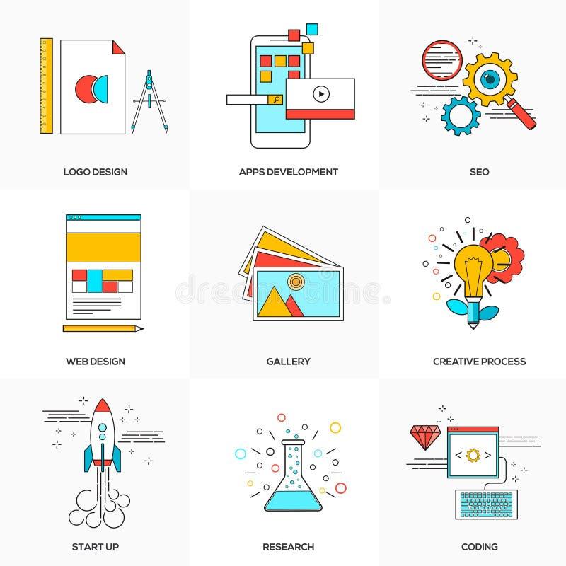 La línea plana iconos fijó de tecnología y del desarrollo libre illustration