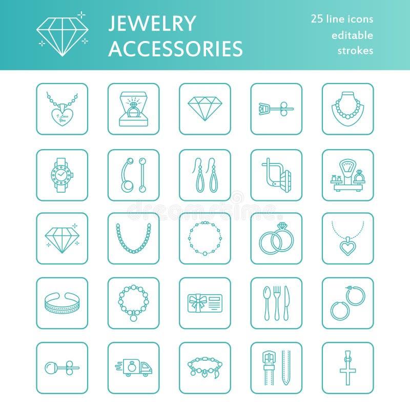 La línea plana iconos, tienda de la joyería de joyería firma Jewels los accesorios - anillos de compromiso del oro, pendientes de libre illustration