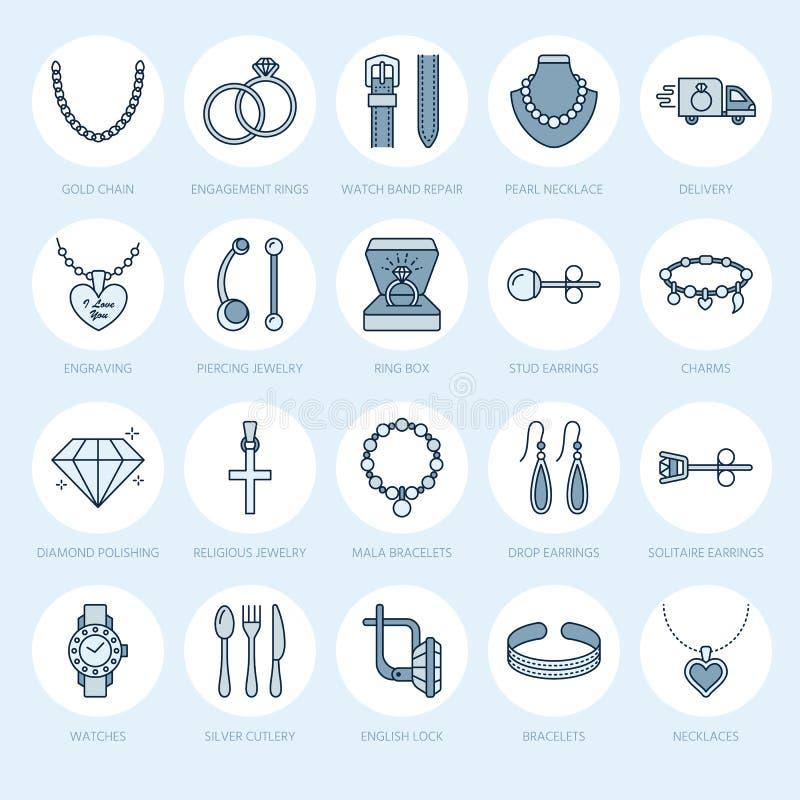 La línea plana iconos, tienda de la joyería de joyería firma Jewels los accesorios - anillos de compromiso del oro, pendientes de stock de ilustración