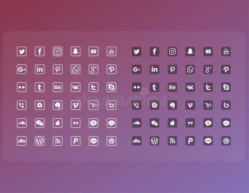 La línea plana medio social popular del icono fijó el paquete completo stock de ilustración