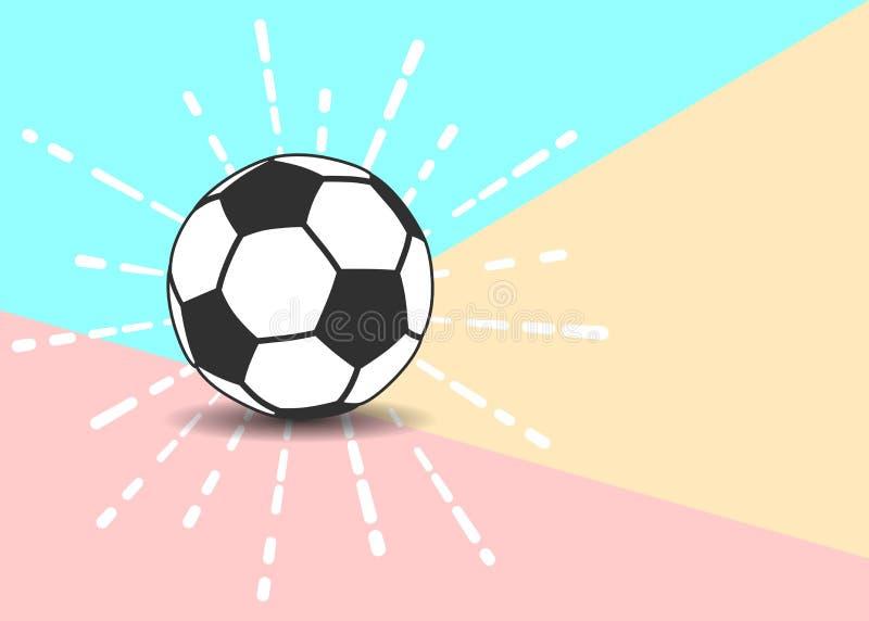 La línea plana pastel moderno coloreó el icono del balón de fútbol con la sombra encendido libre illustration