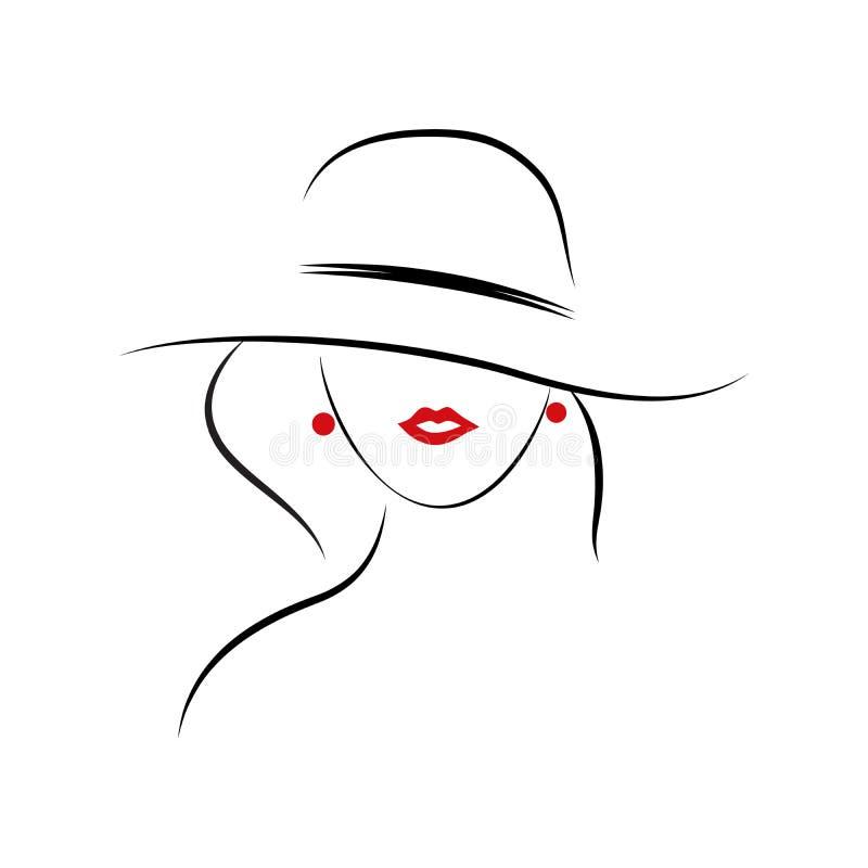 La línea presenta de muchacha de la moda con el sombrero en el fondo blanco ilustración del vector