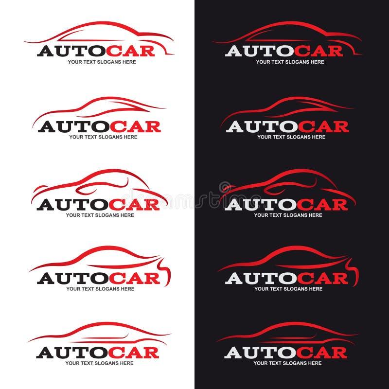La línea roja logotipo del coche es el estilo 5 en fondo blanco y negro ilustración del vector