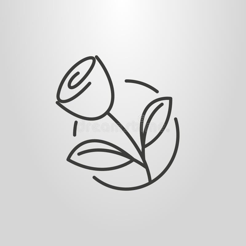 La línea simple pictograma del vector del arte de subió en un marco redondo stock de ilustración