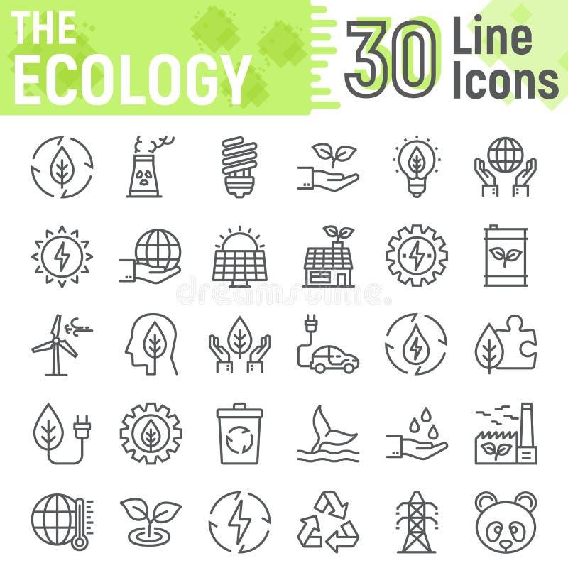 La línea sistema de la ecología del icono, energía verde firma stock de ilustración