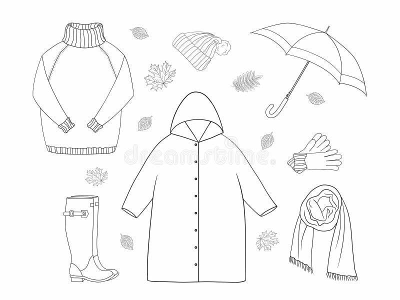 La línea sistema del arte del otoño aisló elementos Colección del objeto del esquema L?nea negra en el fondo blanco ilustración del vector