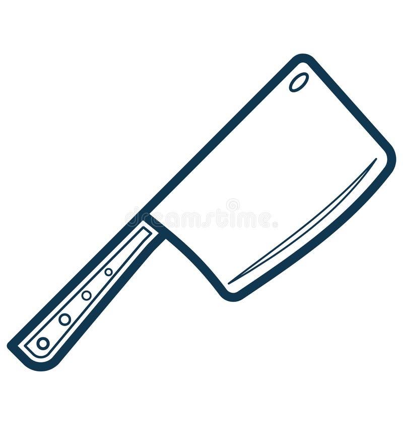 La línea vector de la cuchilla aisló el icono modificado para requisitos particulares y imagen de archivo