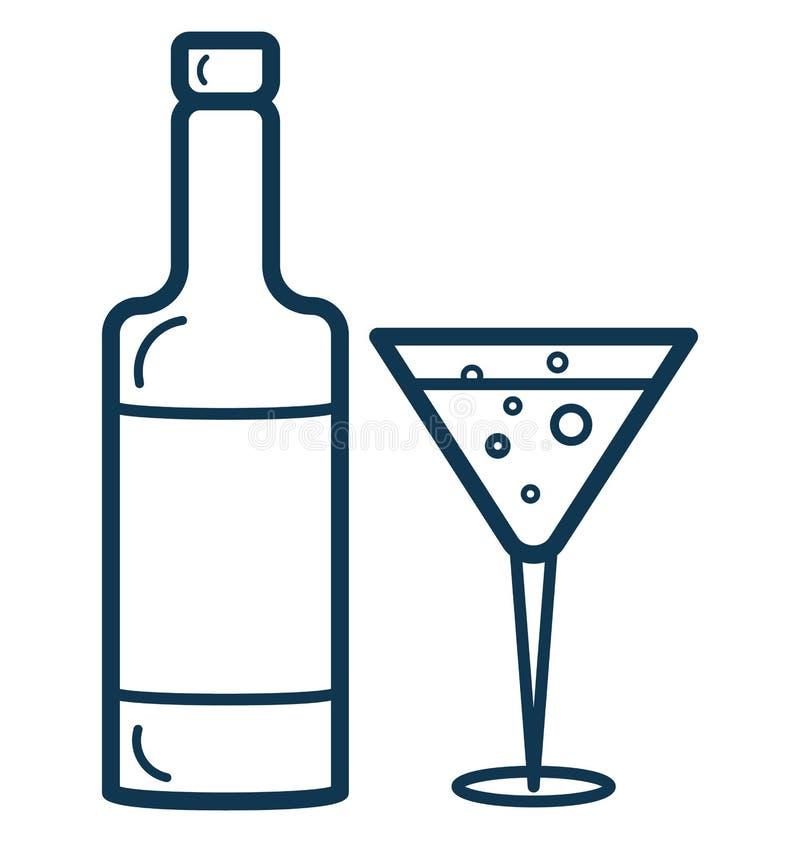 La línea vector del vino aisló el icono modificado para requisitos particulares y editable ilustración del vector