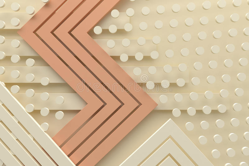 La línea y el punto retros 3d del fondo del modelo del color crema del vintage ren fotos de archivo libres de regalías
