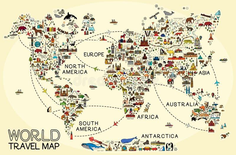 La l?nea iconos del World Travel traza Cartel del viaje con los animales y las atracciones de visita tur?stico de excursi?n ilustración del vector