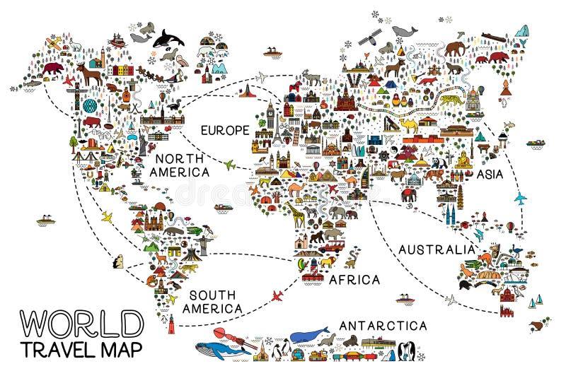 La l?nea iconos del World Travel traza Cartel del viaje con los animales y las atracciones de visita tur?stico de excursi?n libre illustration