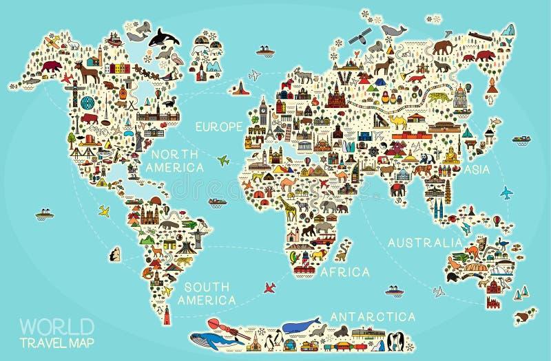 La l?nea iconos del World Travel traza Cartel del viaje con los animales y las atracciones de visita tur?stico de excursi?n stock de ilustración