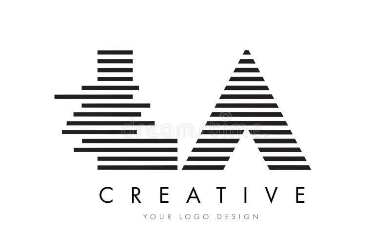 LA L A Zebra Letter Logo Design with Black and White Stripes stock illustration