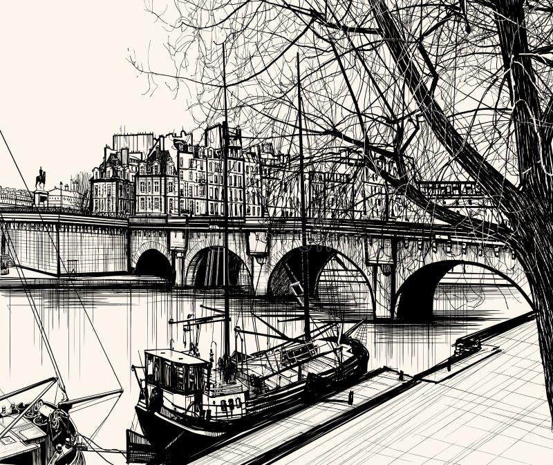 La La di Ile - di Parigi de cita - Pont Neuf illustrazione vettoriale