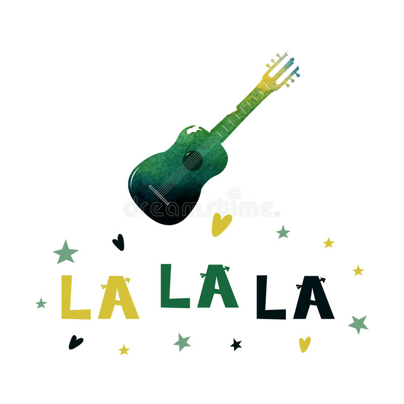 La La La. Watercolor guitar with a cheerful text. Cute cartoon lettering. Flat illustration isolate on white background. Print. royalty free illustration