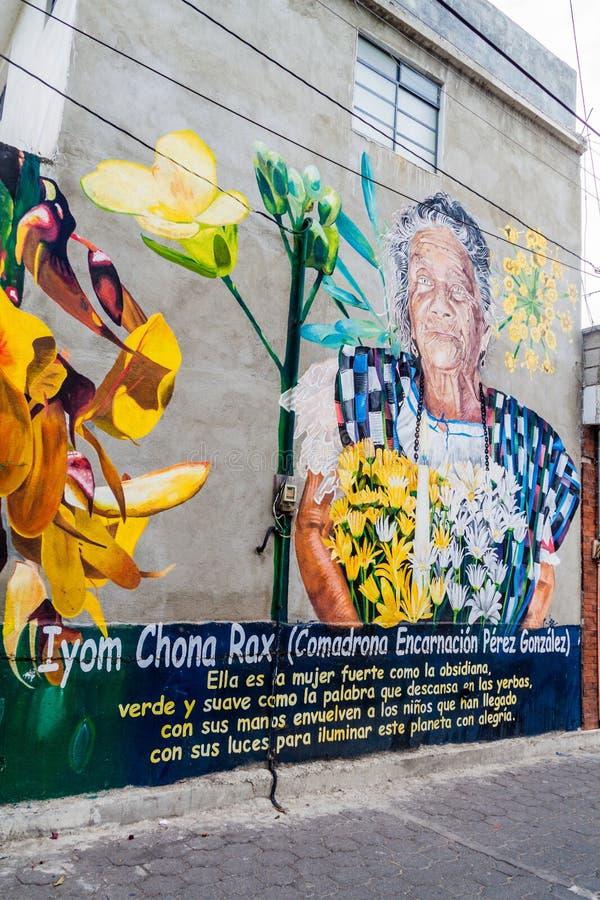 LA LAGUNA, GUATEMALA DE SAN PEDRO - 23 MARS 2016 : Portait de sage-femme Dona Chona Rax en villag de San Pedro La Laguna image stock