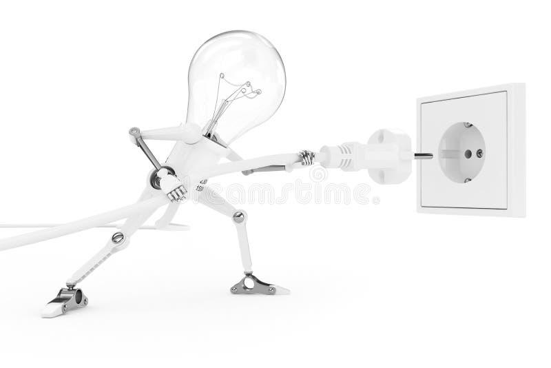 La lampada del robot colpisce la spina di corrente in incavo illustrazione di stock