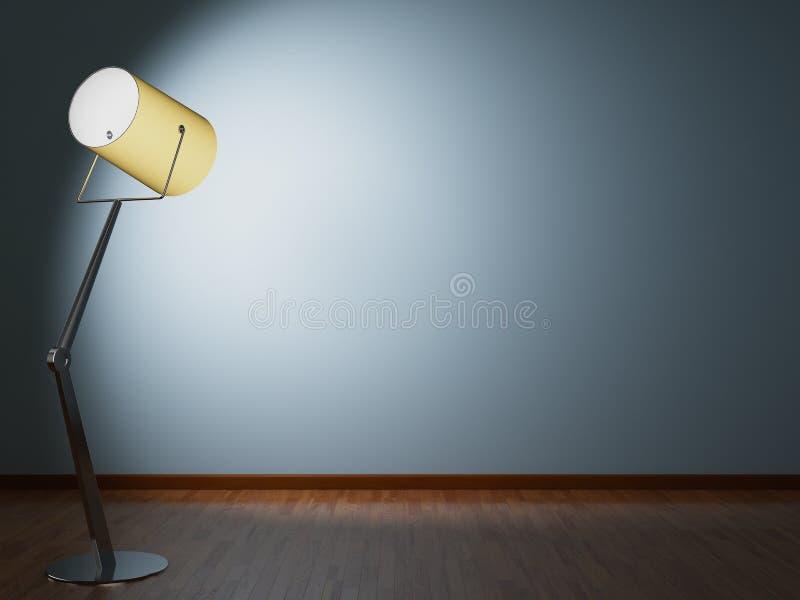 La lampada di pavimento illumina la parete fotografia stock