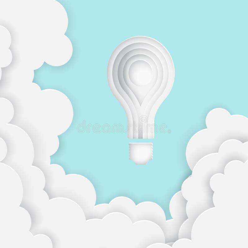 La lampadina del fumetto di carta di arte gradisce un sole in cielo blu con le nuvole di carta illustrazione di stock