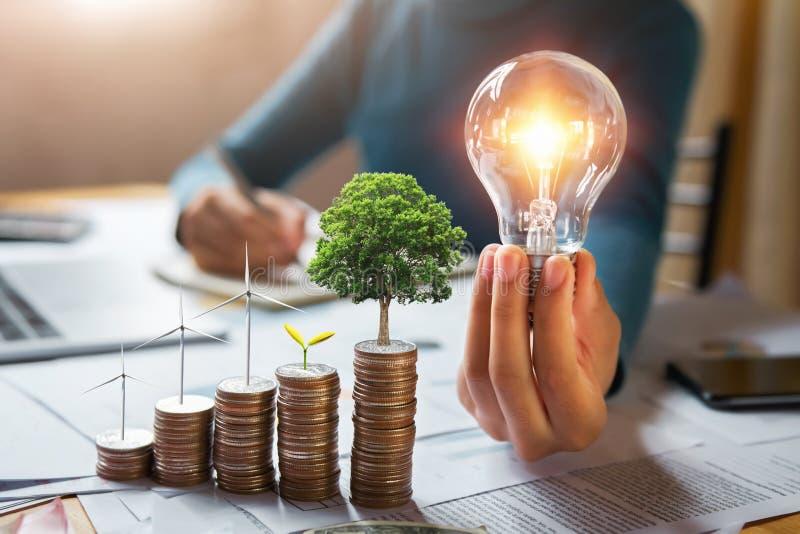la lampadina della tenuta dell'uomo d'affari con la turbina e l'albero si sviluppano sulle monete energia di concetto e contabili fotografia stock