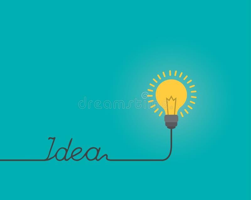La lampadina di pensiero di idea modella per il ` di IDEA del ` del testo, il concetto di ispirazione, illustrazione piana di sti illustrazione vettoriale