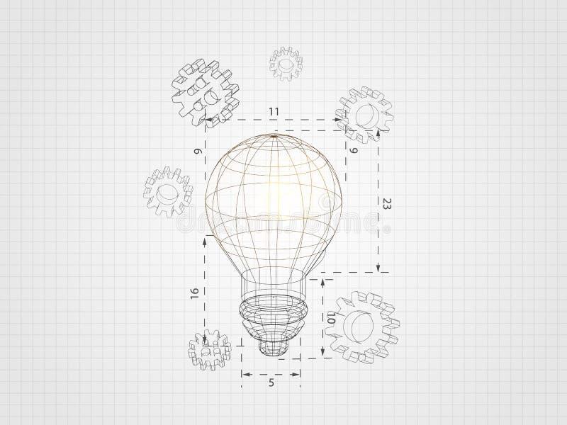 La lampadina di Wireframe con l'ingranaggio 3d sul fondo di griglia rappresenta il concetto e l'ingegneria della tecnologia Illus illustrazione di stock