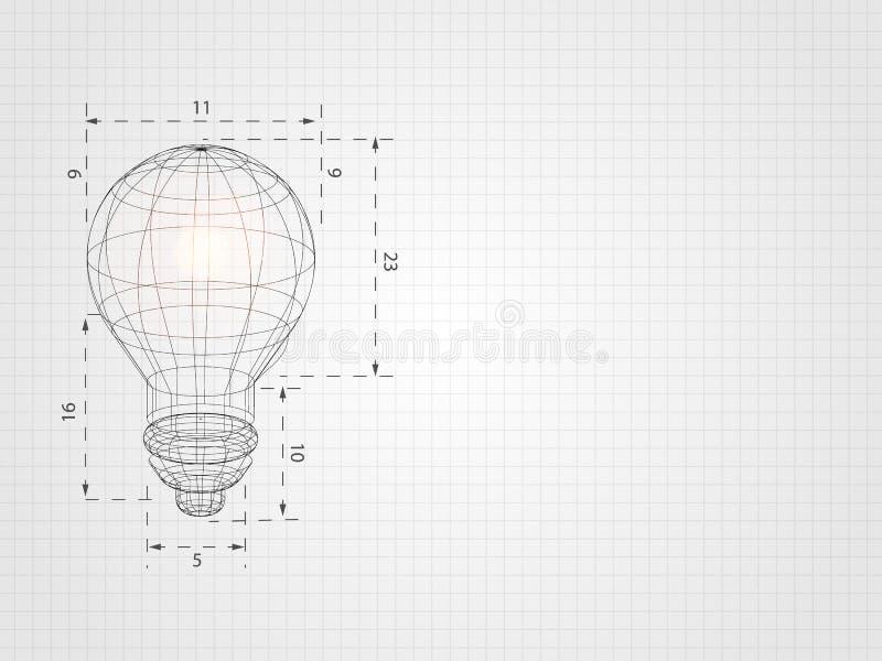 La lampadina di Wireframe sulla griglia rappresenta il concetto e l'innovazione della tecnologia Priorità bassa di tecnologia Ill illustrazione vettoriale