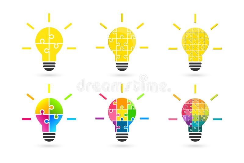 La lampadina fatta del puzzle collega come concetto di idea illustrazione di stock