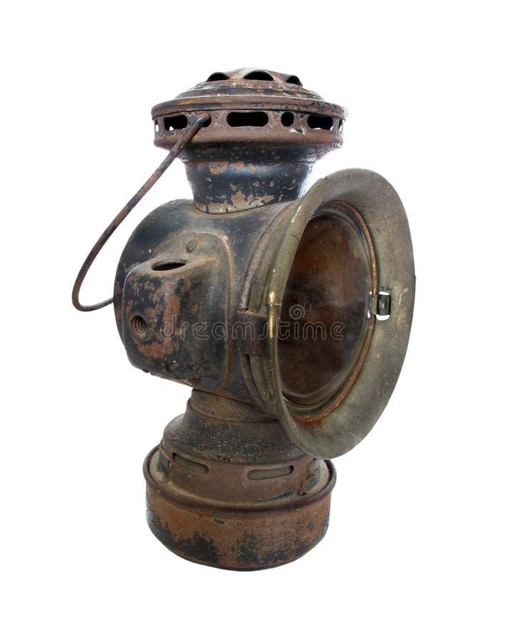 La lampe antique de phare de chariot de pétrole a isolé images libres de droits