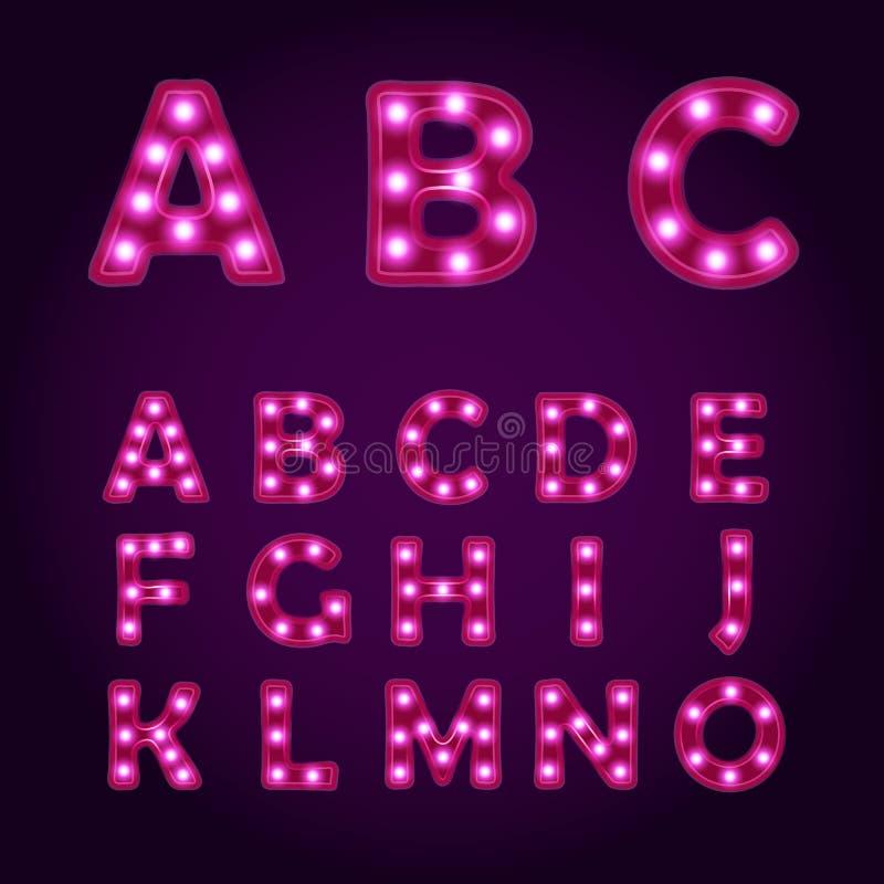 La lampe au néon marque avec des lettres l'alphabet, illustrations de police de vecteur, ampoule photos libres de droits