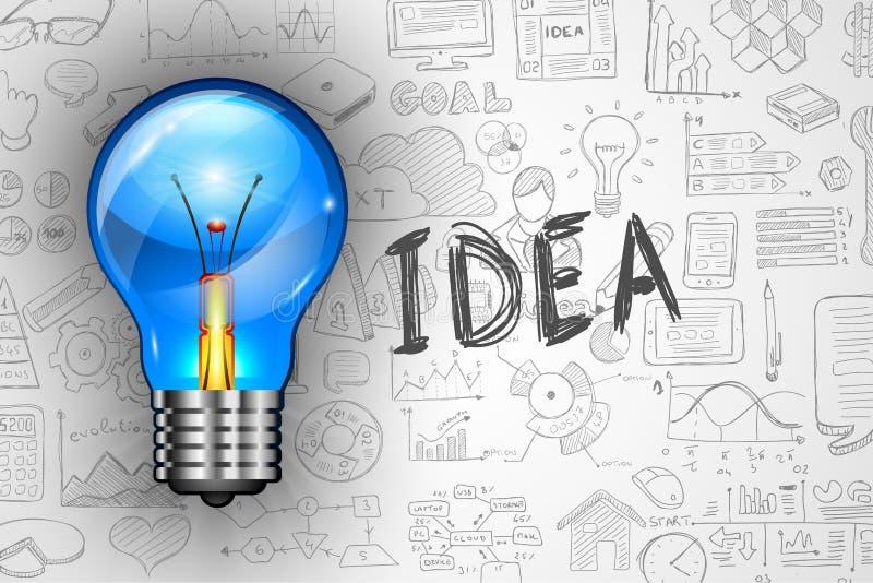 La lampe d'idée d'Infographics avec des affaires gribouille le fond de croquis : infographie illustration stock
