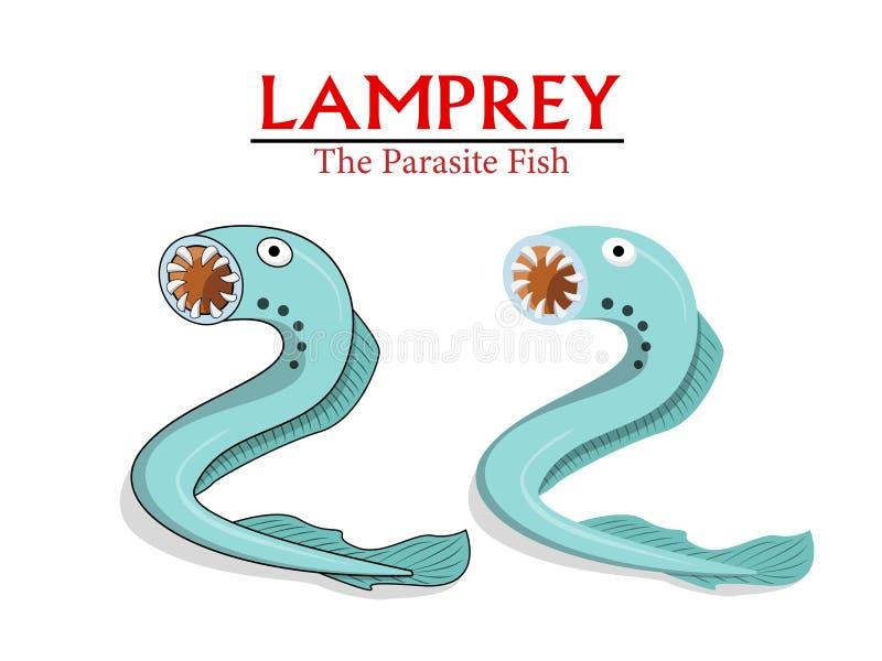 La lamproie, poisson de parasite dans la bande dessinée de vecteur conçoivent illustration stock