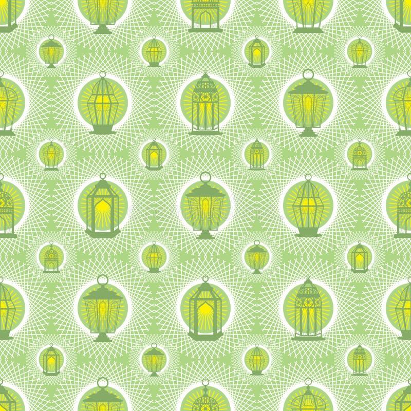 La lanterna del Ramadan protegge il modello senza cuciture di simmetria bianca illustrazione vettoriale