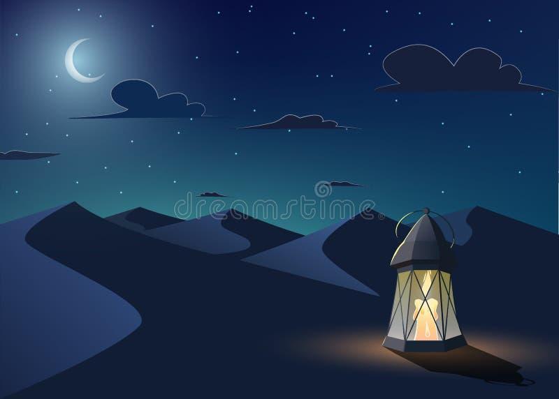 La lanterne lumineuse se tient dans le désert illustration libre de droits