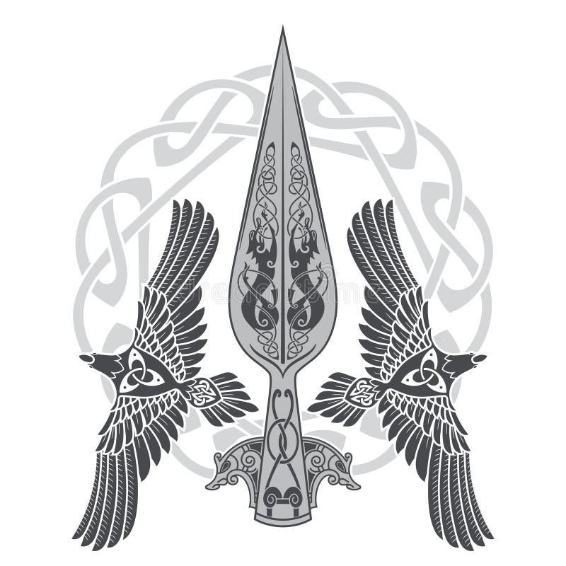 La lanza de dios Odin - Gungnir Dos cuervos y modelo escandinavo ilustración del vector